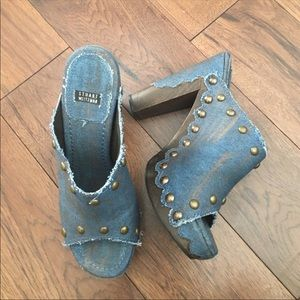 Stuart Weitzman Open Toe Denim Platform Clogs